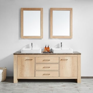 "Alpine 72"" Double Vanity in Glacier Canyon Oak with White Drop-In Porcelain Vessel Sink with Mirror"