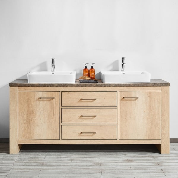 """Alpine 72"""" Double Vanity in Glacier Canyon Oak with White Drop-In Porcelain Vessel Sink without Mirror"""