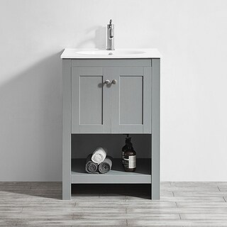 "Belvedere 24"" Single Vanity in Elegant Grey with White Drop-In Acrylic Basin without Mirror"