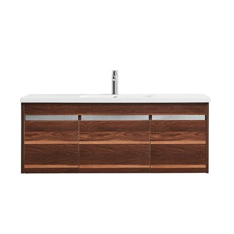 """Thomas 48"""" Single Vanity in Walnut with White Acrylic Under-Mount Sink Without Mirror"""