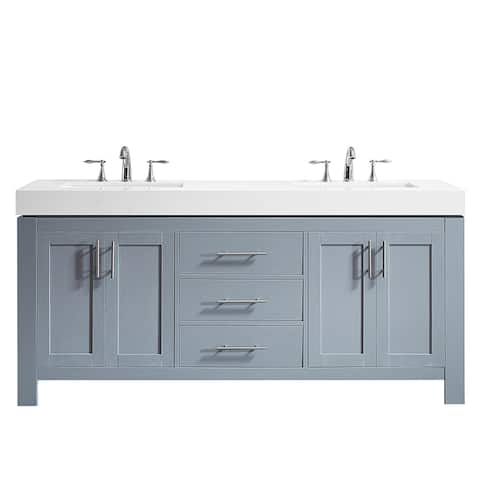 "Essex 72"" Double Vanity in Elegant Grey with Ascot Quartz Stone Countertop without Mirror"