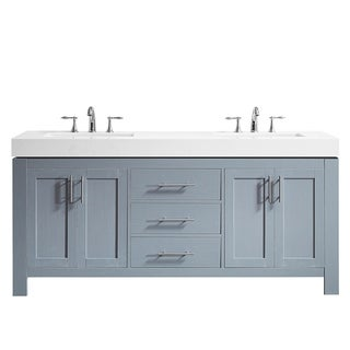 "Essex 72"" Double Vanity in Elegant Grey with Ascot Quartz Stone Countertop without Mirror"