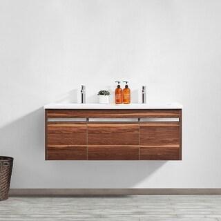 "Thomas 48"" Double Vanity in Walnut with White Quartz Stone Countertop without Mirror"