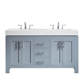 "Essex 60"" Double Vanity in Elegant Grey with Ascot Quartz Stone Countertop without Mirror"