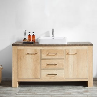 """Alpine 60"""" Single Vanity in Glacier Canyon Oak with White Drop-In Porcelain Vessel Sink without Mirror"""