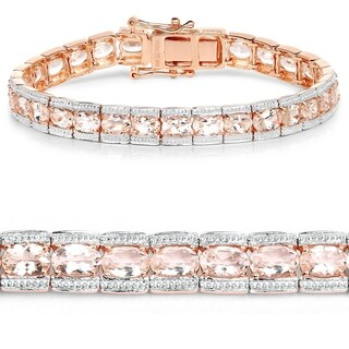 18K Rose Gold Plated 11.61 Carat Genuine Morganite .925 Sterling Silver Bracelet