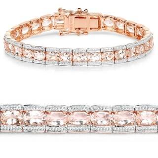 18k Rose Gold Plated 11 61 Carat Genuine Morganite 925 Sterling Silver Bracelet