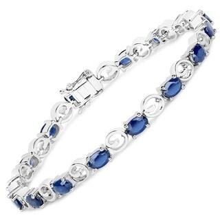 7.68 Carat Genuine Blue Sapphire .925 Sterling Silver Bracelet