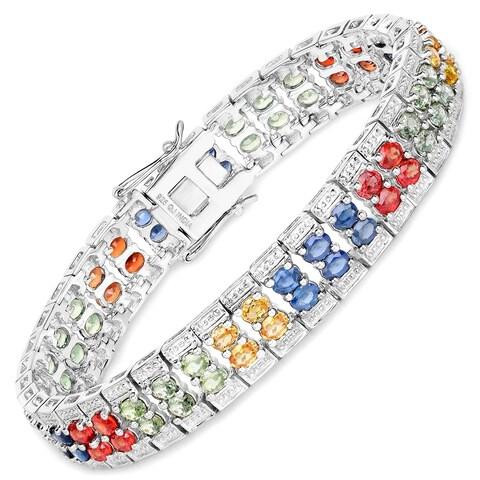 14.40 Carat Genuine Multi Sapphire .925 Sterling Silver Bracelet