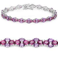 11.34 Carat Genuine Amethyst and Rhodolite .925 Sterling Silver Bracelet