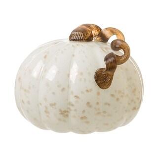 Glitzhome Golden/White Glass Pumpkin