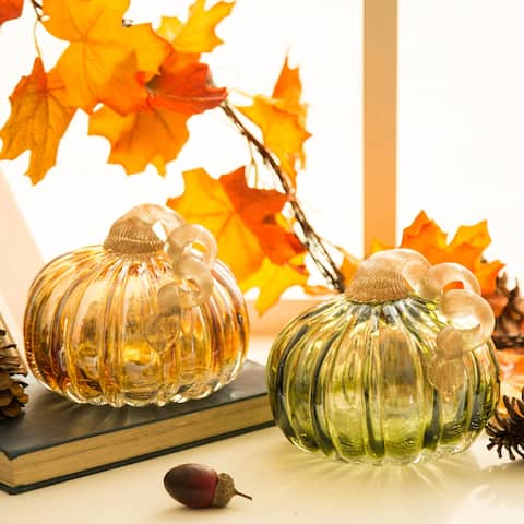 Glitzhome Green & Amber Crackle Handblown Glass Short Pumpkins