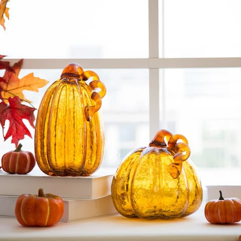 Glitzhome Amber Crackle Handblown Glass Pumpkins