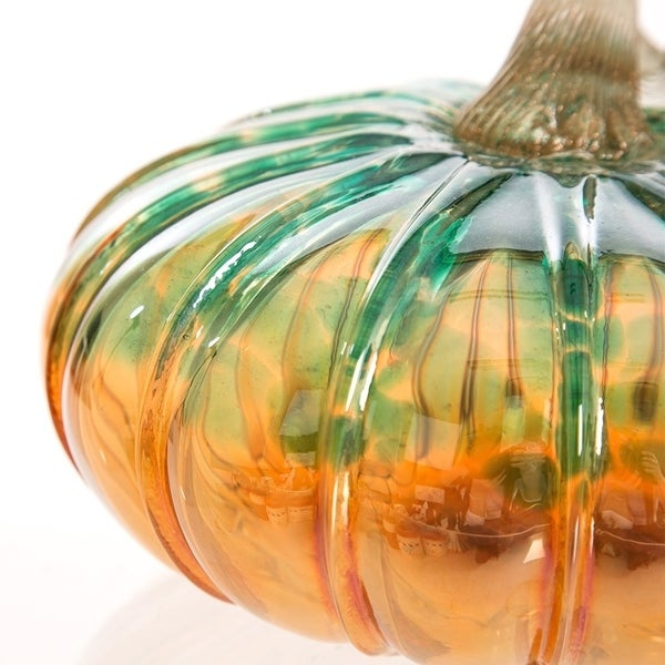 "MADE IN USA 5/"" Small Hand Blown Glass Pumpkin Halloween Thanksgiving Decoration"