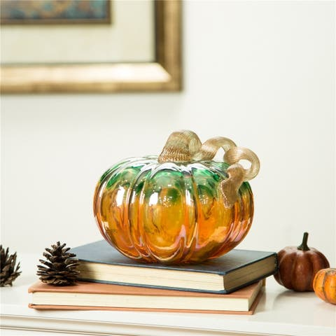 Glitzhome Fall Harvest Hand Blown Glass Pumpkin