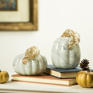 Glitzhome Gray Marble Handblown Glass Pumpkins