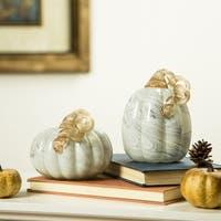 Glitzhome Gray Marble Glass Pumpkin
