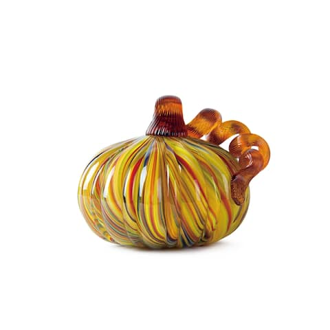 Glitzhome Multi Striped Handblown Glass Pumpkins