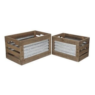Cheung's Set of 2 Rectangular Wooden Crate with Ridged Metal Accent