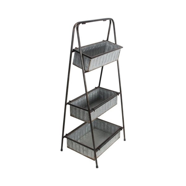 Cheung's Handmade 3 Tier Folding Metal Stand with Removable Shelf - Gray