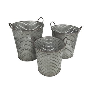 Cheung's Set of 3 Handmade Metal Tapered Olive Bucket with Side Handle