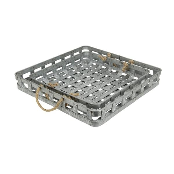 Set Of 2 Handmade Galvanized Metal Tray