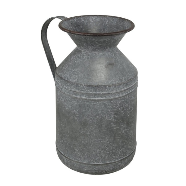 Cheung's Gray Wash Metal Farmhouse Styled Milk Jug - Large