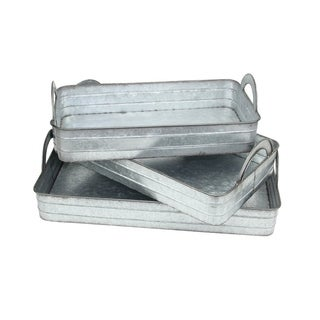 Cheung's Set of 3 Handmade Gray Galvanized Metal Tray with Side Handles