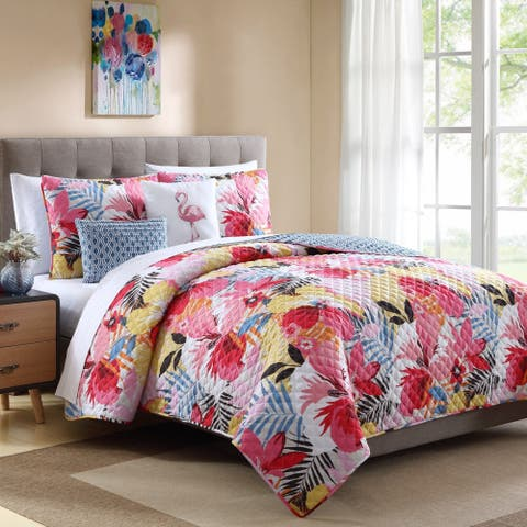 Lemon & Spice Lanai Floral 4 & 5 Piece Quilt Set
