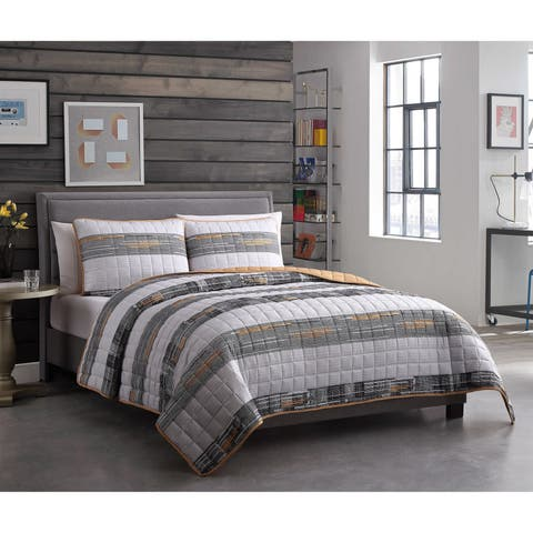Lemon & Spice Damien Stripe 2 & 3 Piece Reversible Quilt Set