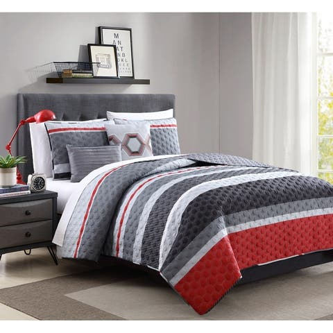 Hamilton Hall Arden Stripe 4 & 5 Piece Reversible Quilt Set