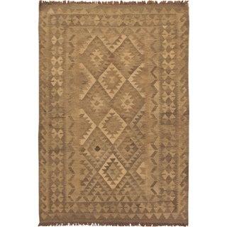 Kilim Arya Uriela Grey/Brown Hand-Woven Wool Rug (4'3 x 5'10) - 4 ft. 3 in. x 5 ft. 10 in.