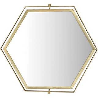 Renwil Hive Hexagon Framed Brass-plated Iron Mirror with Brass-plated Bolts