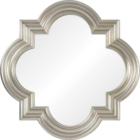 Renwil Beverwil Champagne Silvertone Leaf PU Irregular Framed Mirror