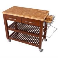 Chris & Chris Pro Chef Espresso Wood/Steel Kitchen Workstation