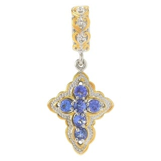 Michael Valitutti Palladium Silver Bead Tanzanite Cross Drop Charm