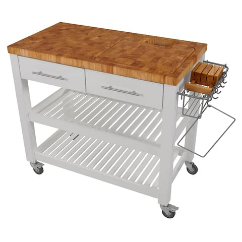 Chris & Chris Pro Chef White Wood/Steel Kitchen Workstation