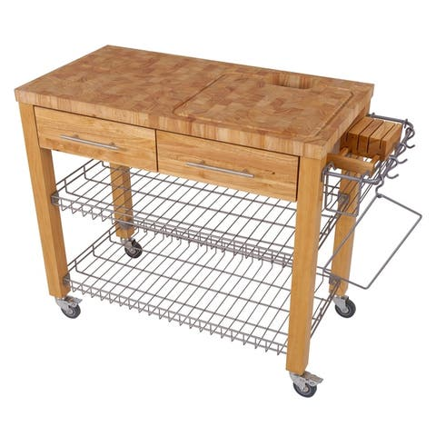 Chris & Chris Pro Chef Natural Wood and Stainless Steel Workstation