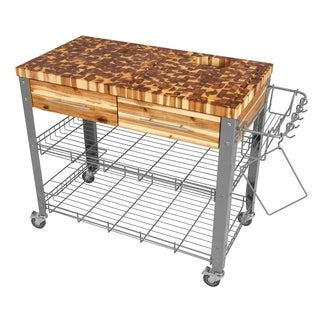 Chris & Chris Stadium Series Stainless Steel and Wood Outdoor Kitchen Cart