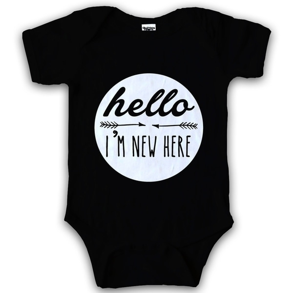 48d846549 Shop Infant Hello I'm New Here Creeper Funny Adorable Baby Bodysuit in  Black - Free Shipping On Orders Over $45 - Overstock - 22698358