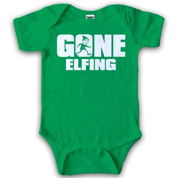 9b59eeeaf Shop Infant Gone Elfing Funny Elf Christmas Baby Creeper Cute ...