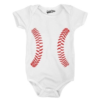 Baseball Laces Adorable Sport Infant Baby Creeper Bodysuit in White