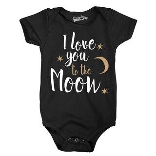 I Love You To the Moon Adorable Stars Baby Infant Creeper Bodysuit in Black