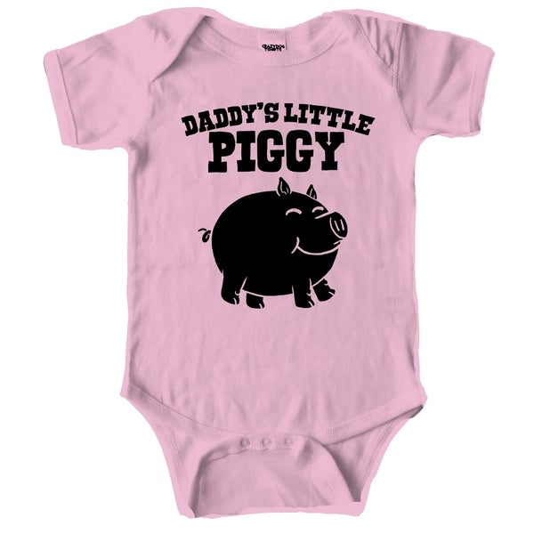 Daddys Little Piggy Cute Piglet Baby Father's Day Creeper Bodysuit for Infants in Pink
