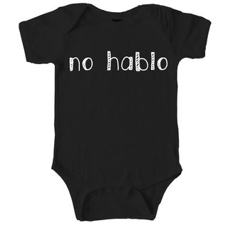 No Hablo Funny Self Mocking Baby Creeper Spanish Bodysuit for Infants in Black