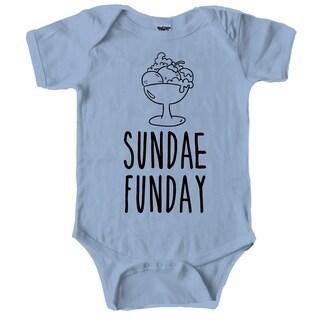 Sundae Funday Cute Ice Cream Baby Creeper Bodysuit for Infants in Light Blue