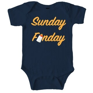 Sunday Funday Cute Weekend Bottle Baby Creeper Bodysuit for Infants in Navy