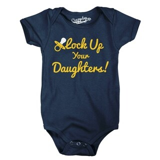 Lock Your Daughters Up Funny Parenting Baby Creeper Infant Bodysuit in Navy