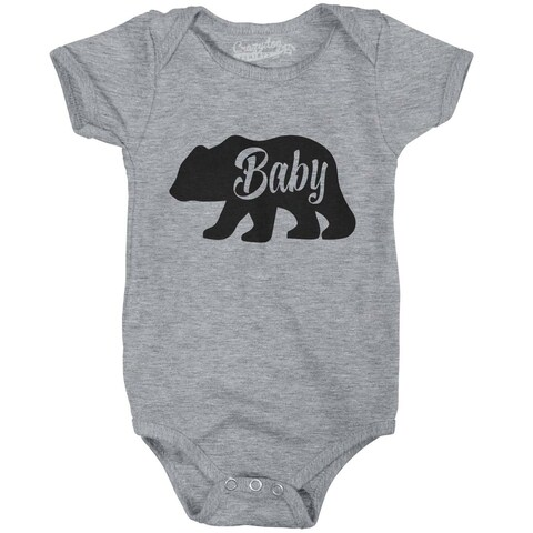 Baby Bear Funny Infant Shirts Cute Newborn Creeper for Family Bodysuit in Grey