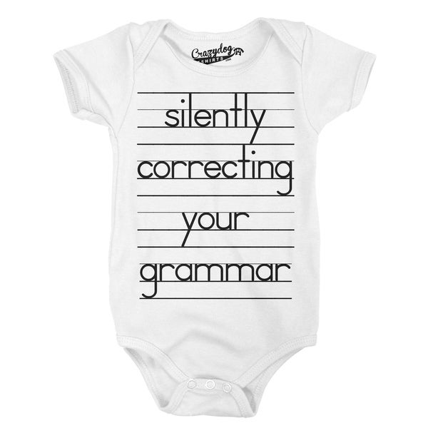 Baby Silently Correcting Your Grammar Funny Lined Paper Creeper Bodysuit in White